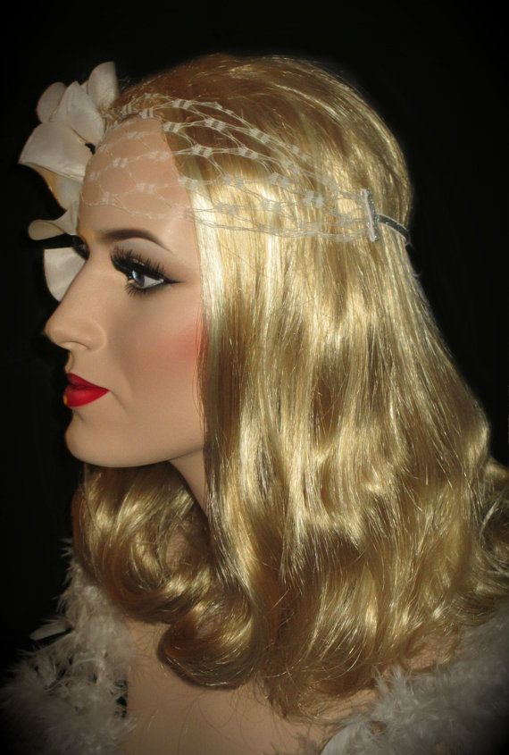 OLD HOLLYWOOD BRIDE 20s Off White Headpiece by AllThatJazzDesign