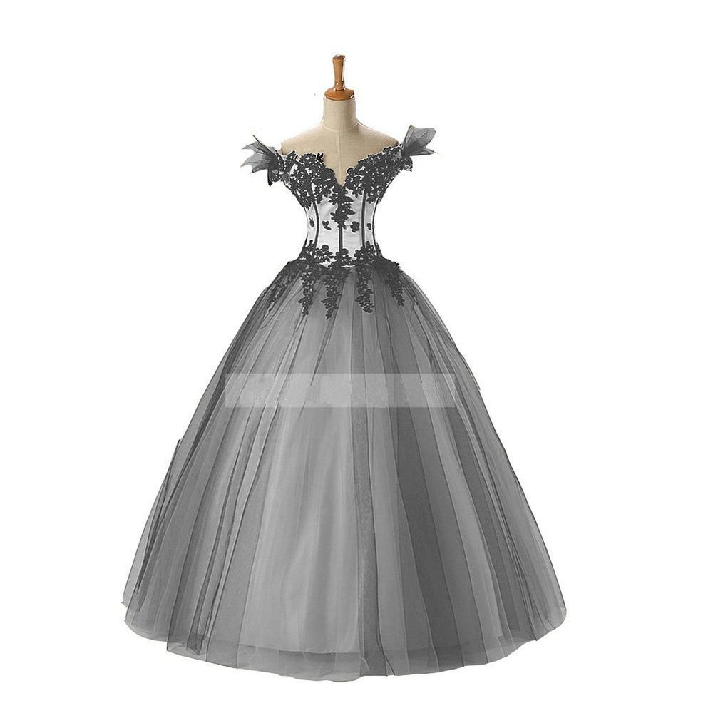 Gothic Black and White Ball Gown Wedding Dress Off Shoulder Princess ...