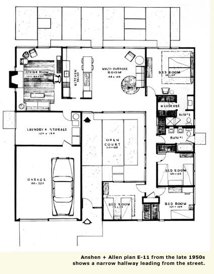 A Lot Of Good Things About This One It Would Need Just A Few Adjustments Eichler House Plans Courtyard House Plans Atrium House