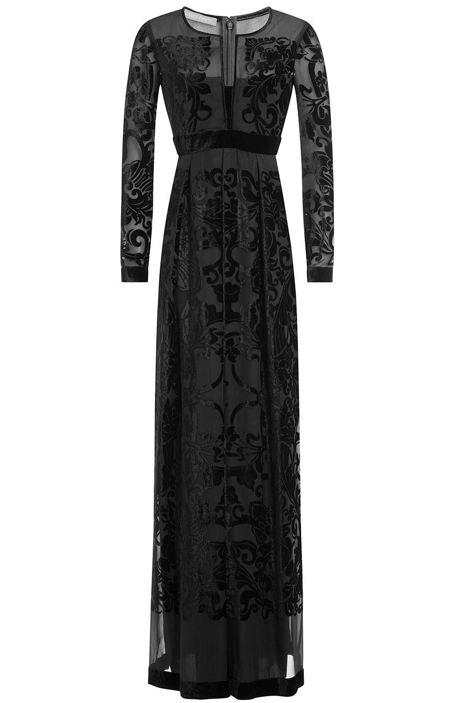 Alberta ferretti floor length gown with mesh and velvet dresses