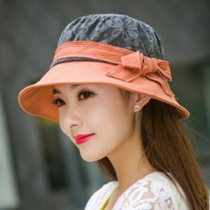 ff6011651af Summer ladies bow bucket hat flower pattern beach package sun hats ...