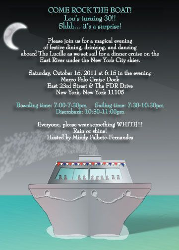 Cruise theme invitation jers bday pinterest cruises cruise cruise theme invitation stopboris Image collections