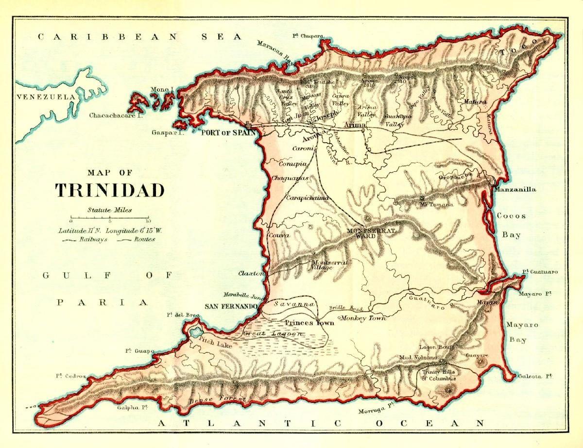 Map Trinidad Tobago Trinite Et Tobago Mer Des Antilles Caraibes
