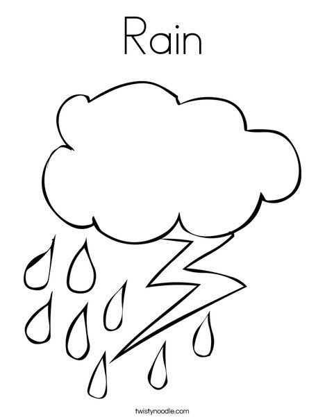 Rain Coloring Page From Twistynoodle Com Weather Theme Weather