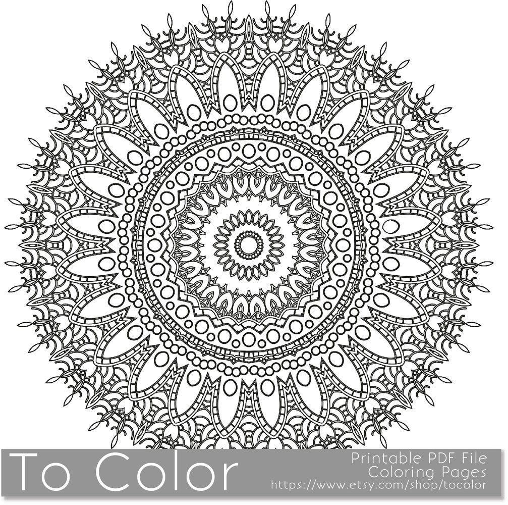 Detailed mandala coloring pages - Intricate Printable Coloring Pages For Adults Gel Pens Mandala Pattern Pdf Jpg