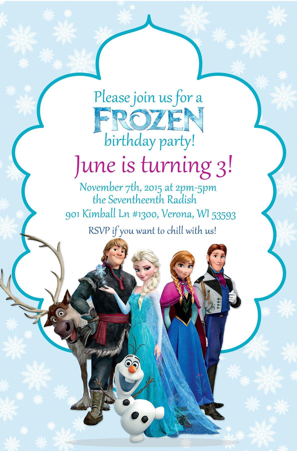 june s frozen birthday invitation june s 3rd birthday in 2018