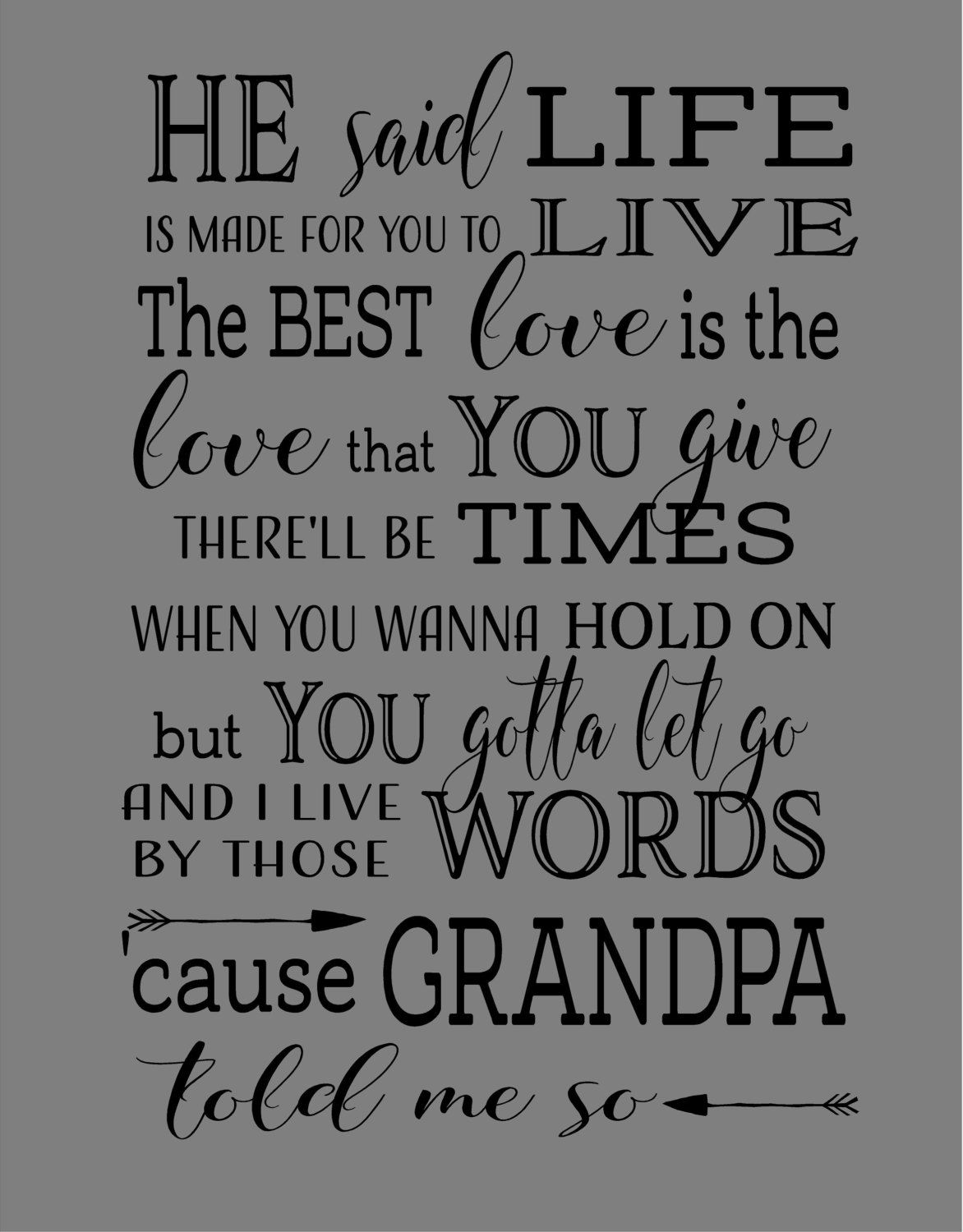 Christmas Gift - Grandpa Told Me So Lyrics Brad Paisley Wood Sign ...