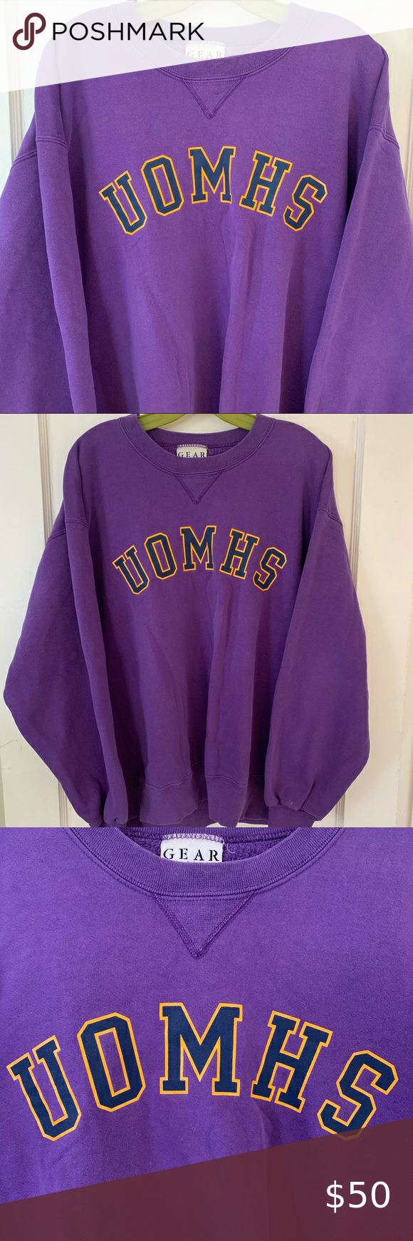 Vintage Uomhs Spellout Crewneck Sweatshirt Sz L Crew Neck Sweatshirt Sweatshirts Sweatshirt Shirt [ 1740 x 580 Pixel ]