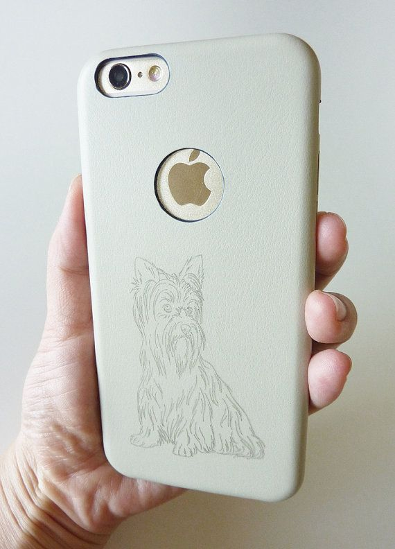 Yorkshire Terrier Dog for Apple Iphone 6 4.7 Cellphone Case Cover 100% Real Leather Leather Engraving by Yunikuna