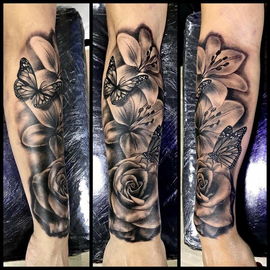 Lirios Borboletas Rosa Tatuagem Paixao Forarm Tattoos Tattoos Sleeve Tattoos