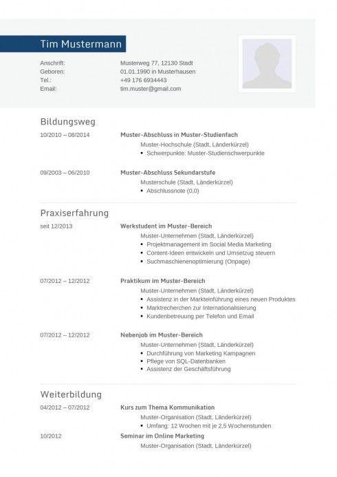 Lebenslauf Muster Vorlage Informatiker 1 | Bewerbungen | Pinterest ...