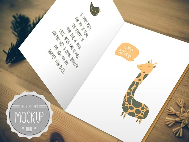 Greeting Card Mockup Instant Download Photoshop Psd Etsy Birthday Card Template Free Birthday Card Template Birthday Cards Images