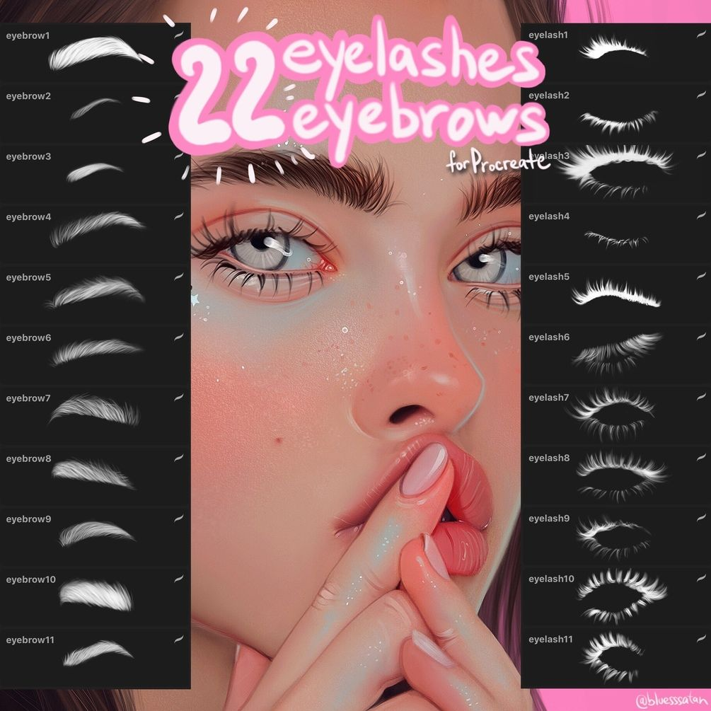 22 Eyelashes Eyebrows Brush Pack For Procreate App Digital