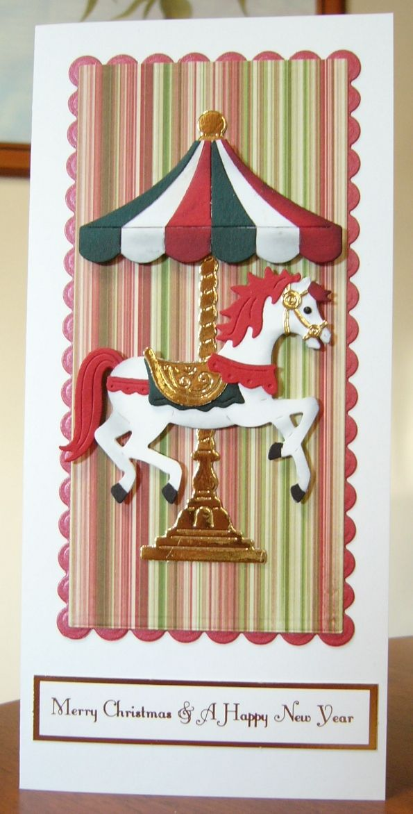 I used a Cottage Cutz Carousel Horse die. Made a great Christmas card.