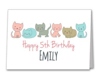 LITTLE KITTY PERSONALISED Birthday Card Daughter Sister Niece