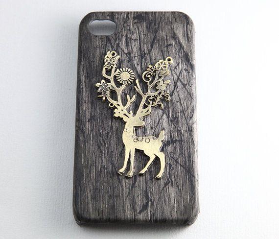 vintage style wild deer elk charm black iPhone 4/4S case, Apple iPhone 4 Case, iPhone 4s Case, iPhone 4 Hard Case --- SALE. $9.99, via Etsy.