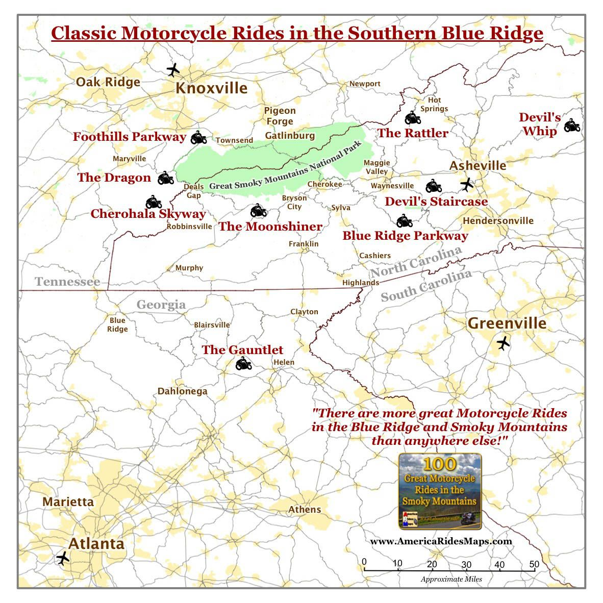 Map of Classic Motorcycle Rides in the Smoky Mountains Place to