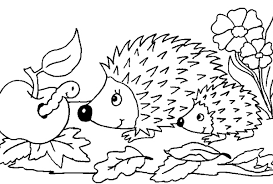 hedgehogs coloring page outline for mitten animals