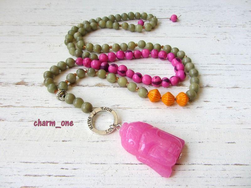 KETTE BUDDHA ★ pink vintage grün orange Acai Jade von charm_one Perlenunikate      auf DaWanda.com