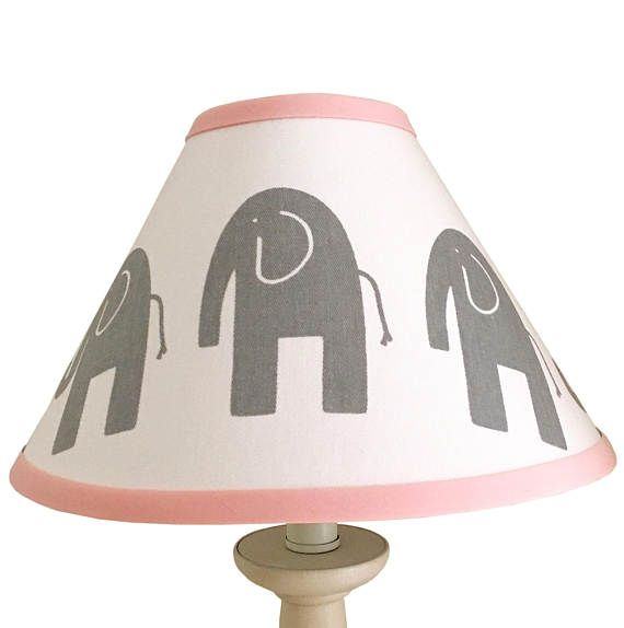 Light Pink Grey White Elephant Lamp Shade Baby