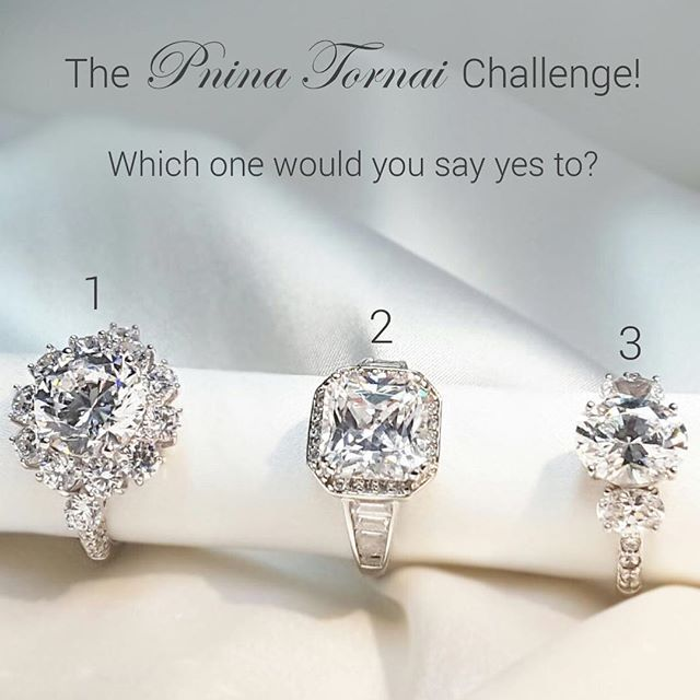 Rings by: @PninaTornai  you're all invited to take the #PninaTornaiChallenge! Comment with the number of ring you would you say YES to: 1, 2, or 3?  TAG your girl friend with the number of ring you think she would say YES to!