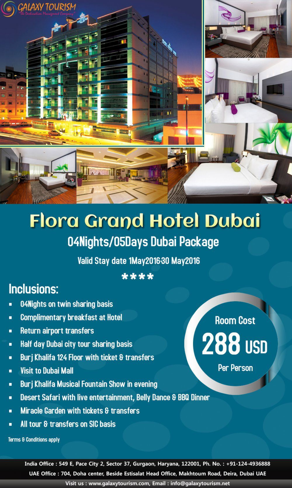Galaxy tourism offering hotel package for dubai of flora grand hotel at best price contact