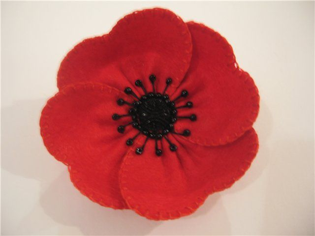 4 per pack RED Glitter Fabric Poppy with LEAF Flower Embellishments