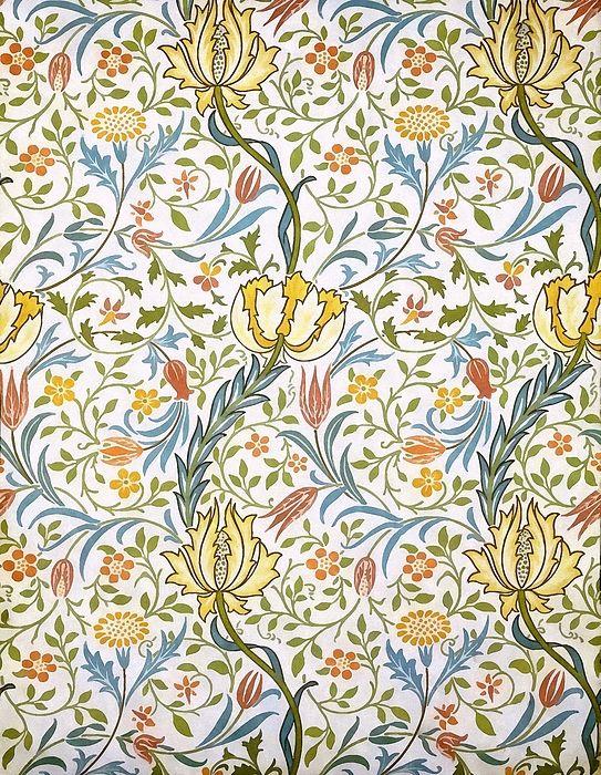 William Morris Flora Floral Watercolor Painting Wallpaper Design ...