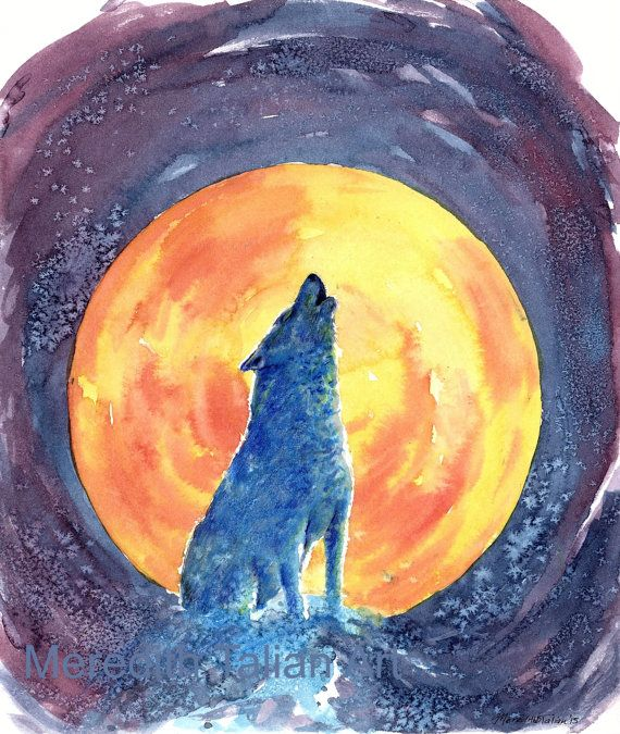Howling Wolf Painting Original Watercolor by MeredithTalianArt