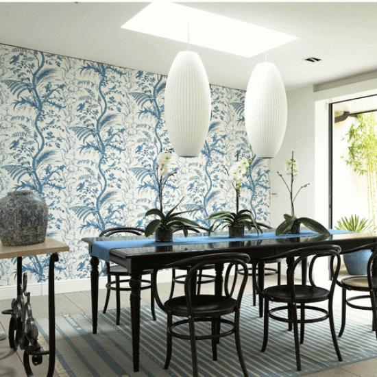 Blue And White Wallpaper For Your Dining Room Statement