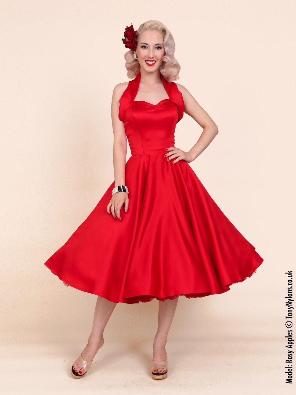 1950s Halterneck Red Duchess Dress - Alicia&-39-s Fashion era favorite ...