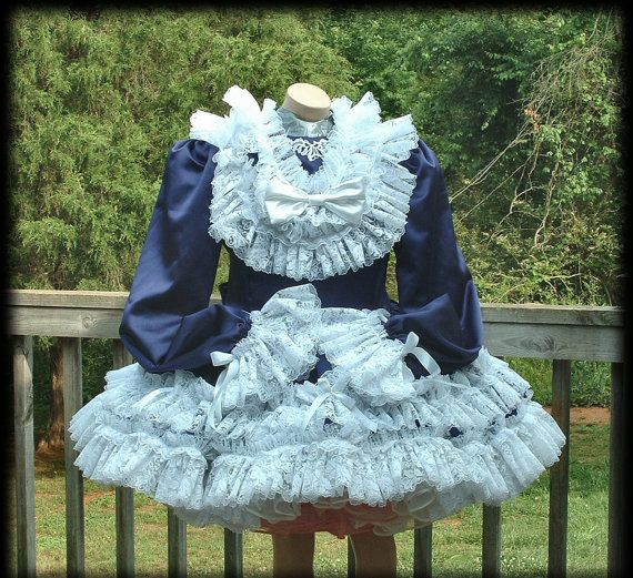 Adult Sissy,Purple Satin Lace Ruffle ABDL Dress, Custom Made for You