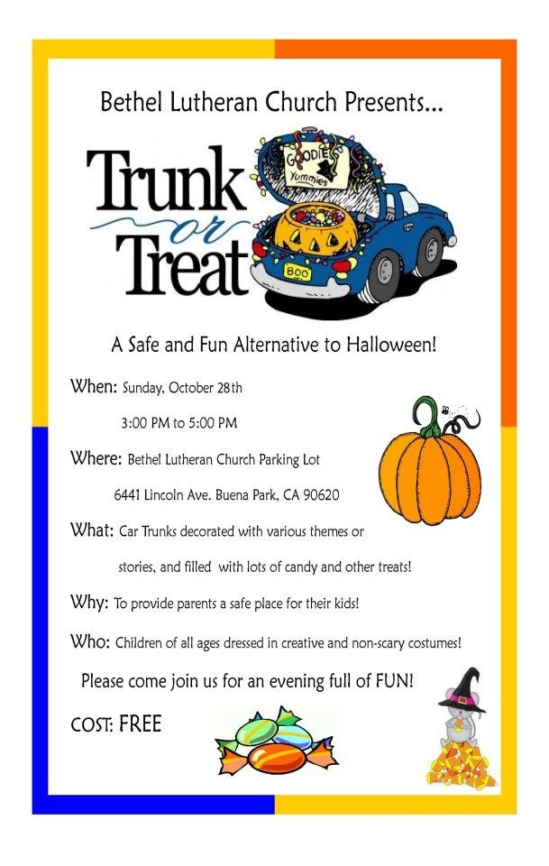 an example of a trunk or treat flyer from two years ago this date