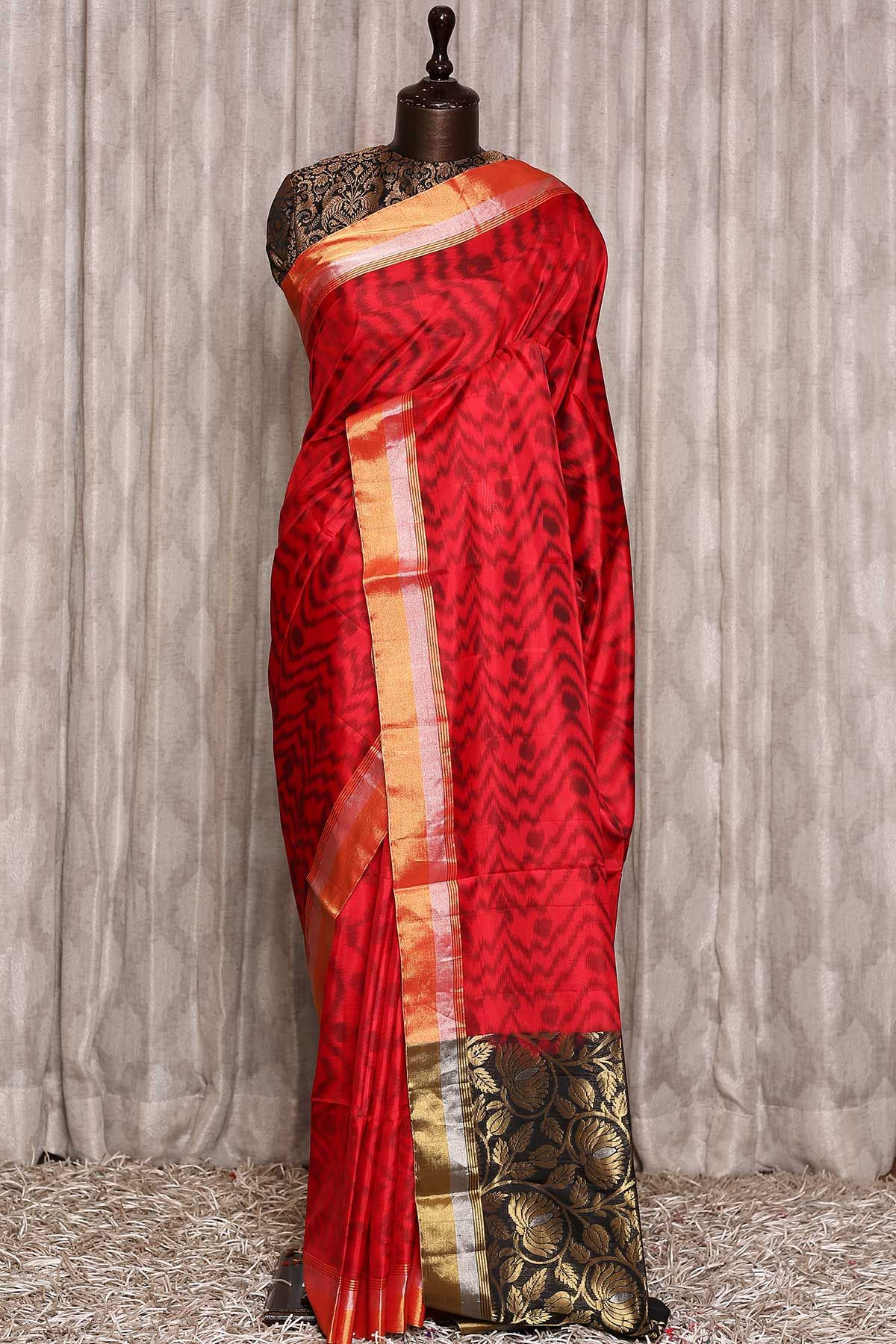 Red Zari woven Soft Silk SareeUF00937 in 2020 Saree