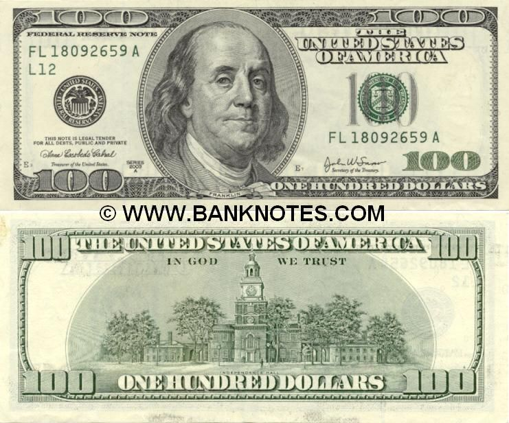 U S Currency United States Of America 100 Dollars 2003