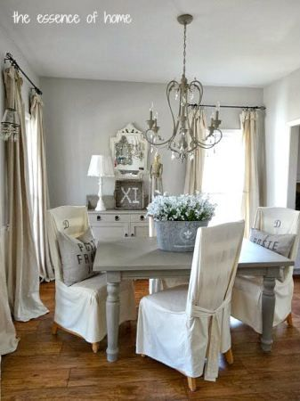 benjamin moore gray owl is a beautiful gray with subtle blue green undertones. Shown in this country, shabby chic style dining room