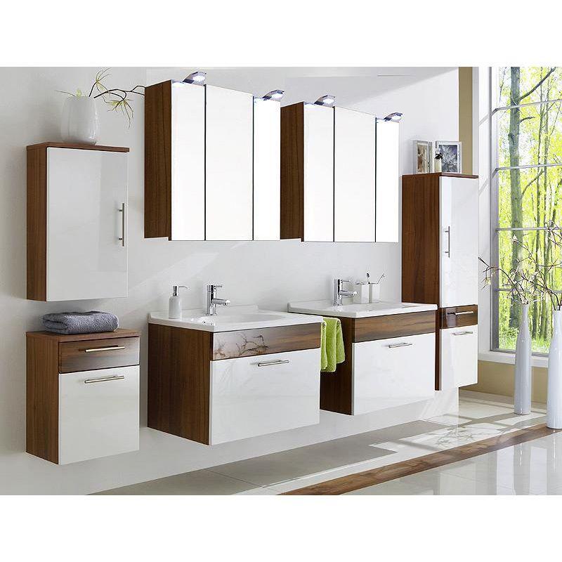 Badmöbel Set ATLANTA Hochglanz weiß, Walnuss Jetzt bestellen unter - badezimmermöbel weiß hochglanz