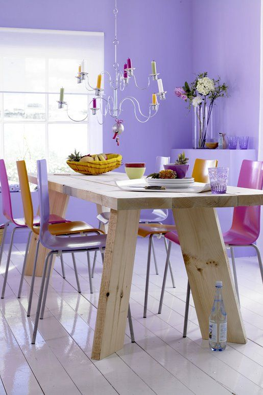 purple walls, total DIY table, fun dining room