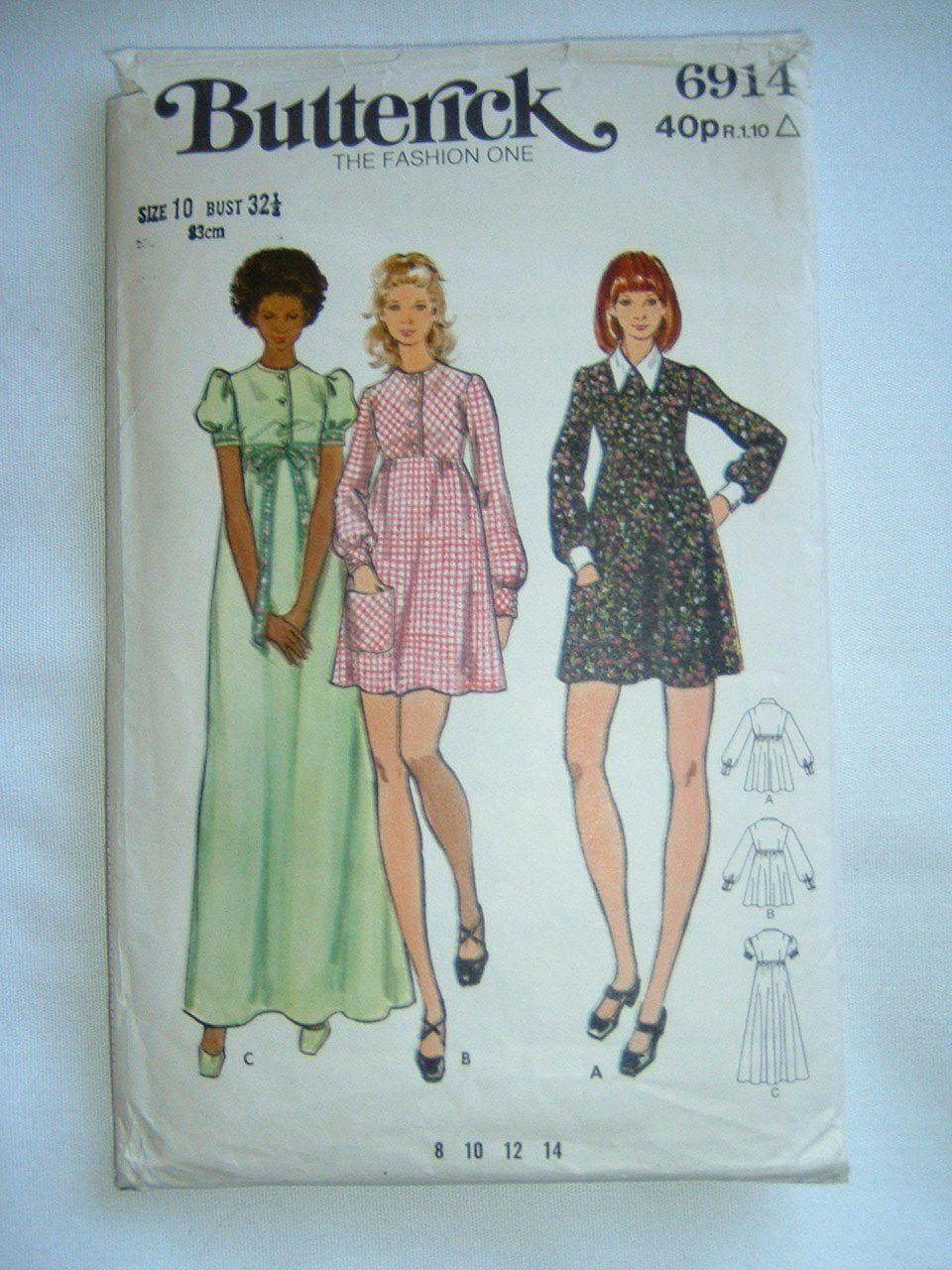 Vintage Butterick 70s dress pattern No 6914 size 10 | eBay ...