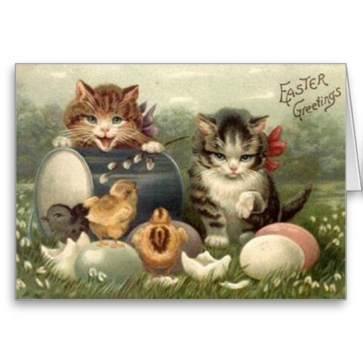 Victorian Kittens Easter Greeting Card Zazzle Com Vintage Easter Postcards Easter Postcards Easter Cats