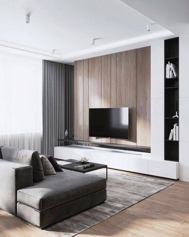 Minimalist Living Room With A Wooden Wall And Grey Curtains Minimalist Living Room Living Room Design Modern Contemporary Modern Living Room Furniture