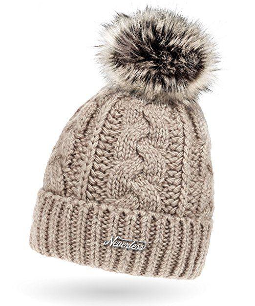 38e7bf5b402d51 Damen Strick-Mütze gefüttert mit Fell-Bommel, Kunstfell, Winter-Mütze,  Bommelmütze, Neverless® hell-beige unisize
