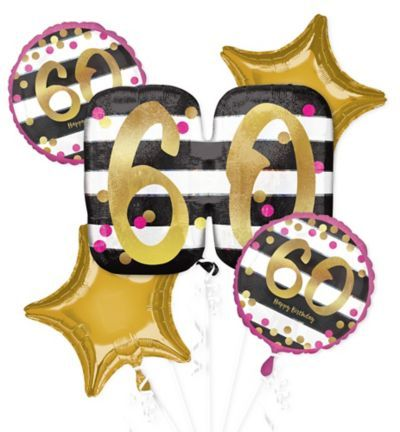 Shop For Pink Gold 60th Birthday Balloon Bouquet 5pc And Other Balloons Online At PartyCity Save With Party City Coupons Specials