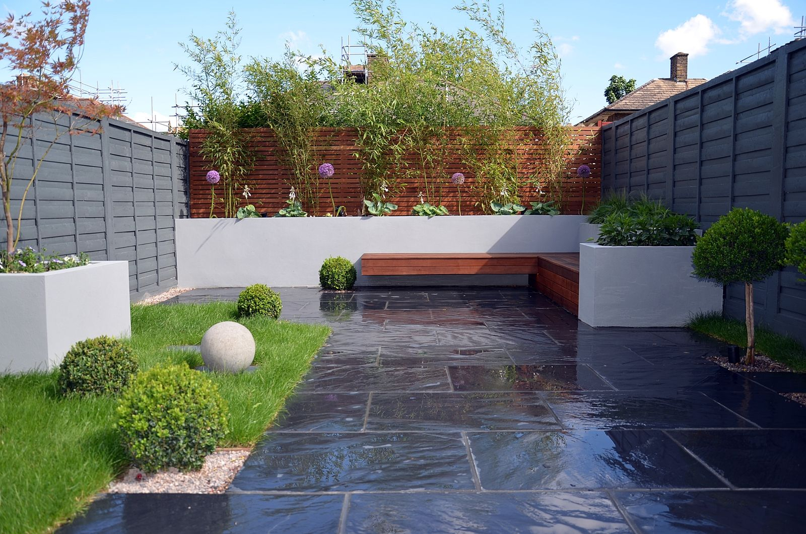 gray fence |  paving modern dark grey fence topiary light grey