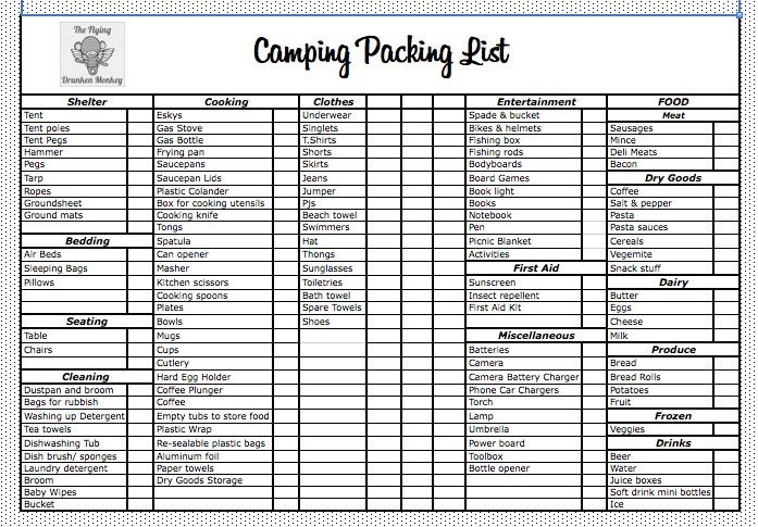 Camping Packing List - The Flying Drunken Monkey Camping - packing checklist template