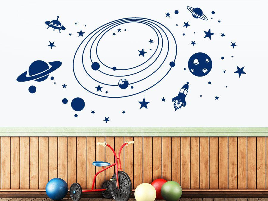 Im Weltall Mit Planeten Und Raketen