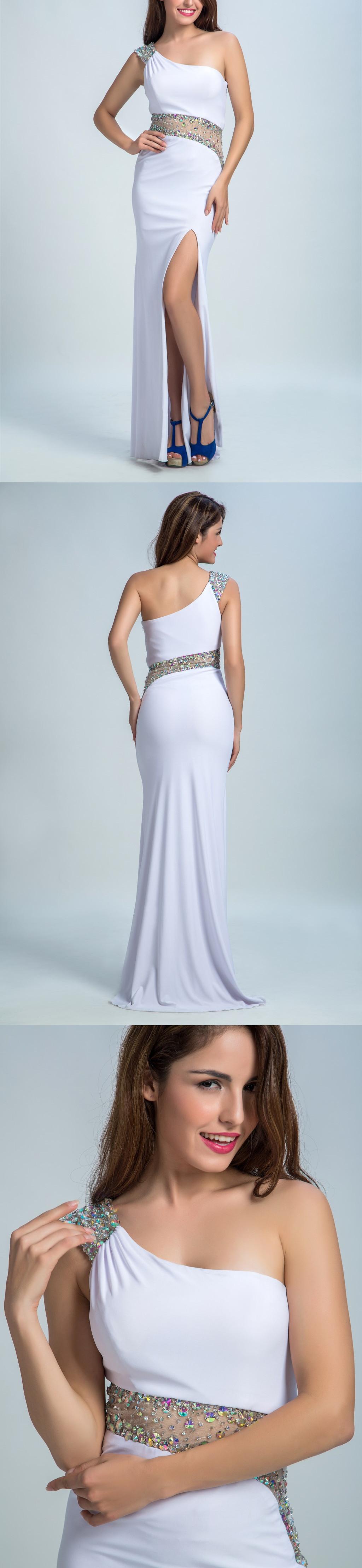 Trumpet/Mermaid Asymmetric Sweep Train Satin Sequined Prom Dresses ...