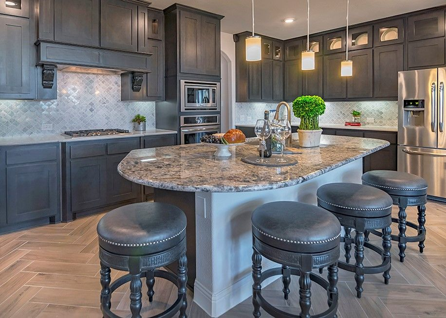Mckinney Texas Beautiful Dark Grey Cabinets With Contrasting Back Splash And Counter Tops Drhorton Findyourhome Kitchen Remodel Grey Kitchen Cabinets Home