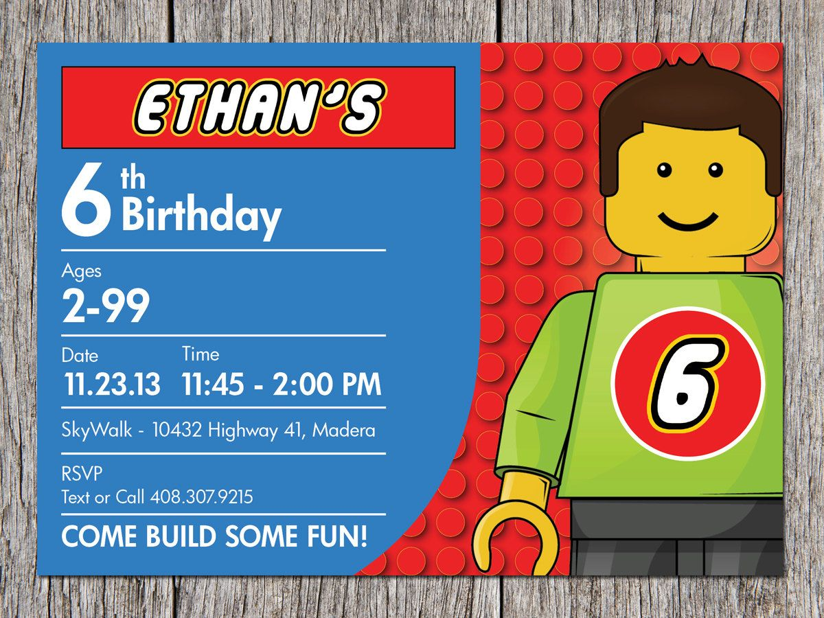 Free Printable Lego Birthday Invitations | Lego birthday party ...