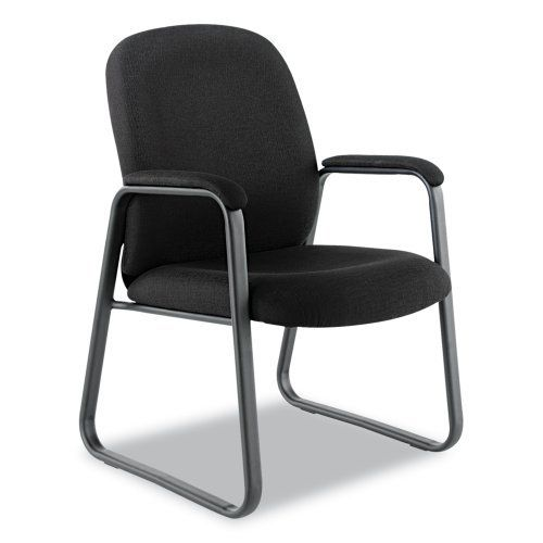 Alera Genaro Guest Chair with Sled Base, Black Fabric by Alera. $145.73. Padded closed loop arms. Clean, classic lines complement any office environment. Contoured foam cushions for all-day comfort. Clean, classic lines complement any office environment. contoured foam cushions for all-day comfort. padded closed loop arms. sturdy black steel sled base.